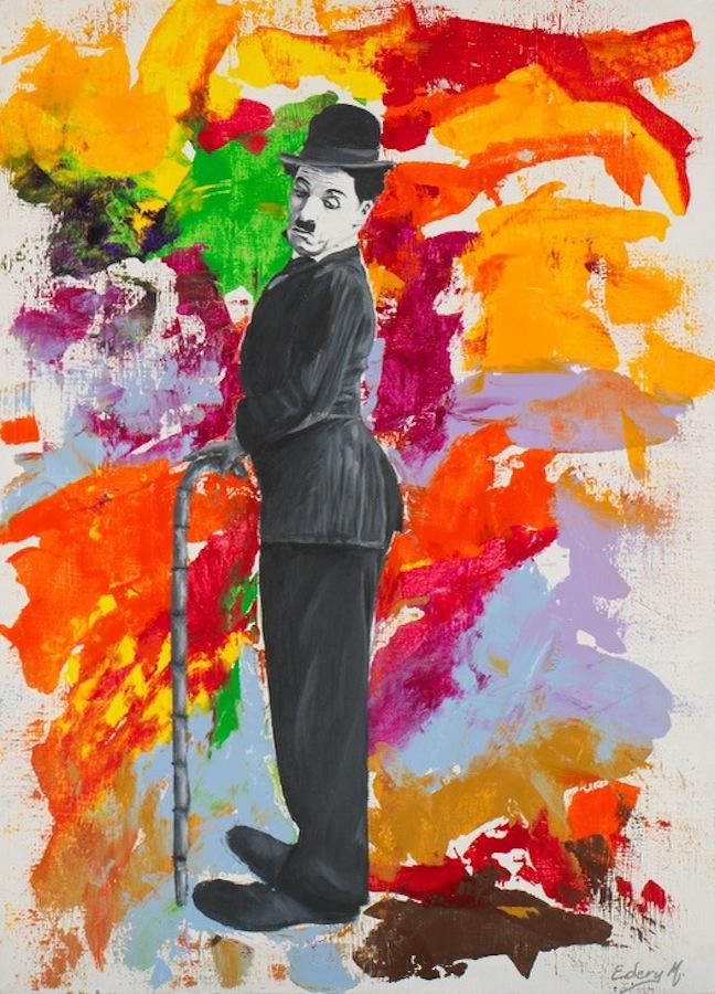 Charlie Chaplin - interrogation 100 x 81