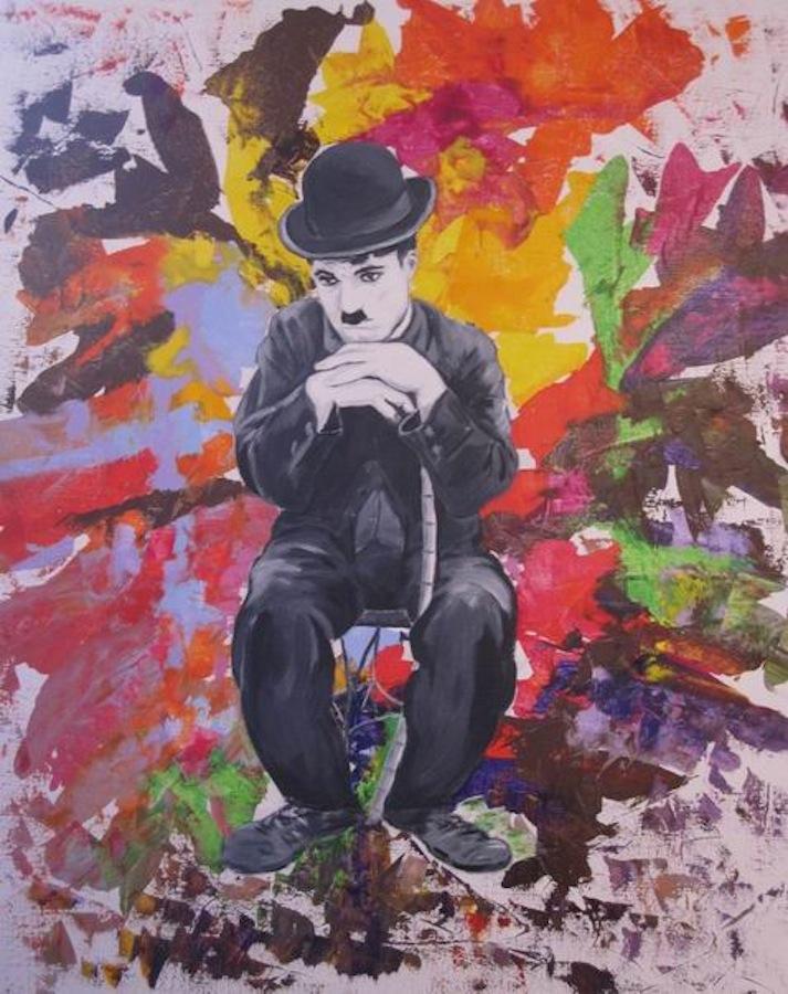 Charlie Chaplin - interrogation. 100 x 81