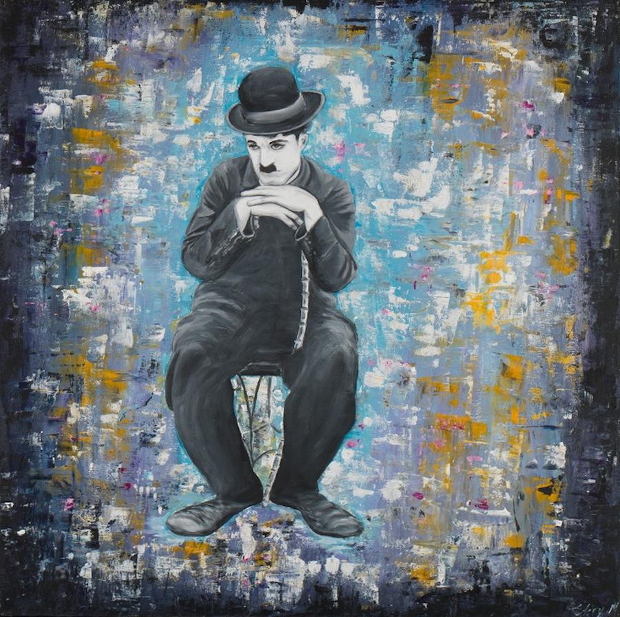 Charlie Chaplin - reflexion 100 x 100